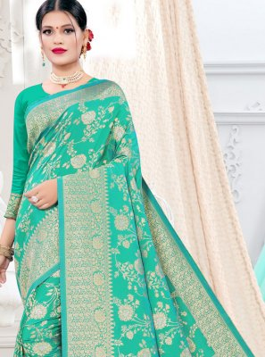 Weaving Silk Designer Traditional Saree in Sea Green