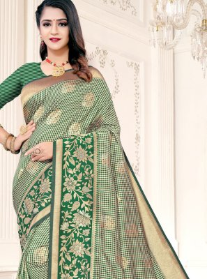 Weaving Silk Green Designer Traditional Saree