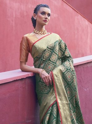 Weaving Silk Green Traditional Designer Saree