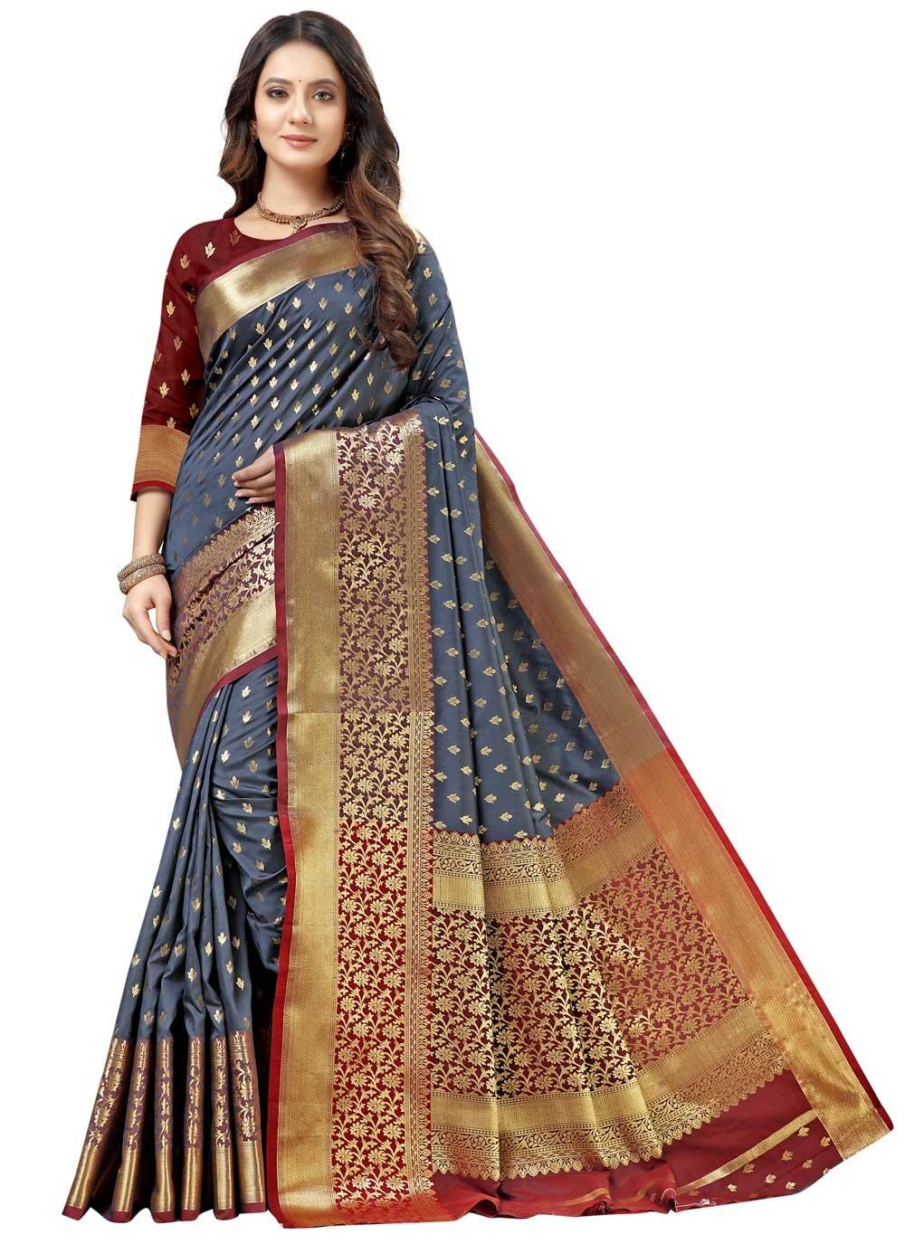 Weaving Silk Grey Designer Traditional Saree