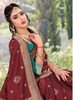 Weaving Silk Maroon Designer Traditional Saree