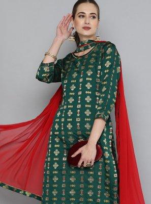 Weaving Silk Party Wear Kurti in Green