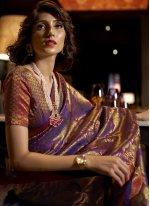 Weaving Silk Purple Designer Traditional Saree