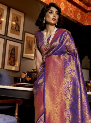 Weaving Silk Purple Designer Traditional Saree