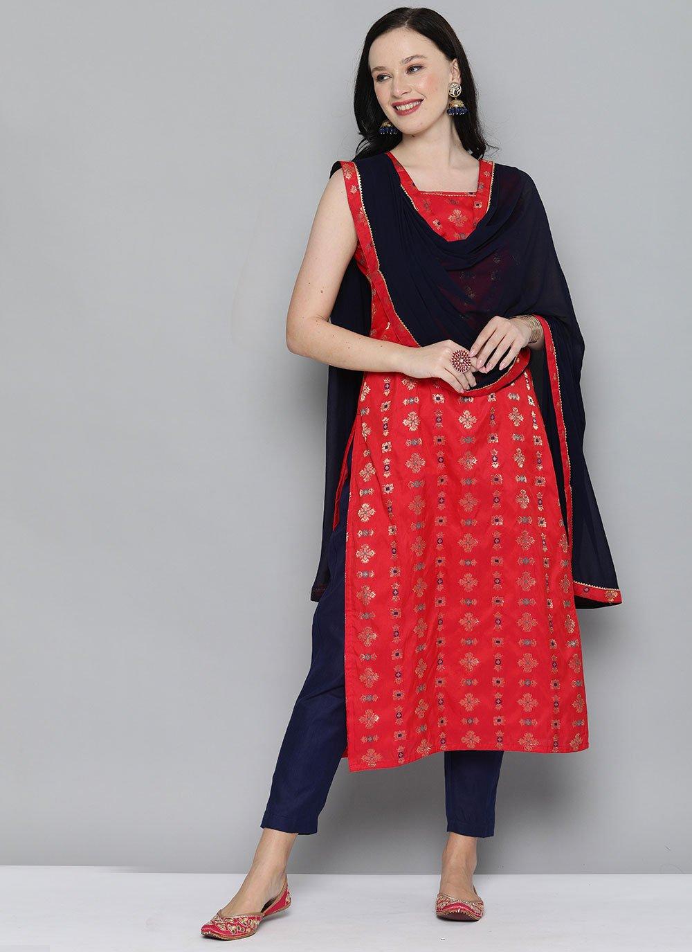 Weaving Silk Red Designer Kurti