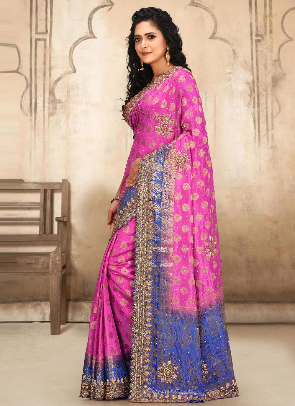 Weaving Silk Traditional Designer Saree in Pink