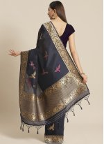 Weaving Silk Traditional Saree in Navy Blue
