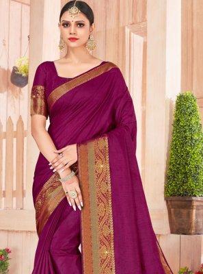 Weaving Silk Violet Designer Saree