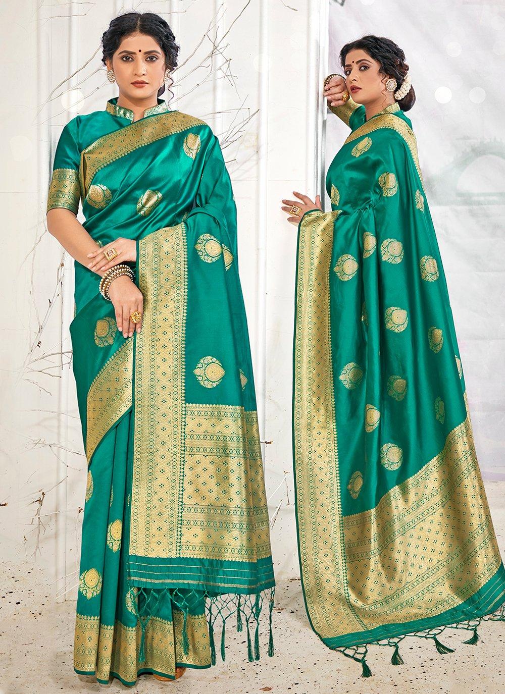 Weaving Teal Designer Traditional Saree