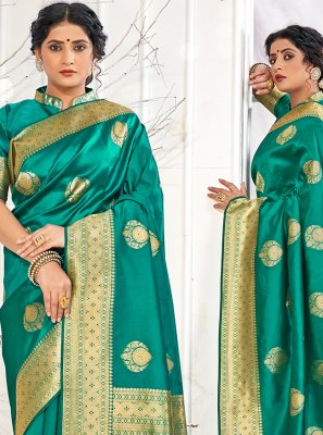 Weaving Teal Designer Traditional Saree