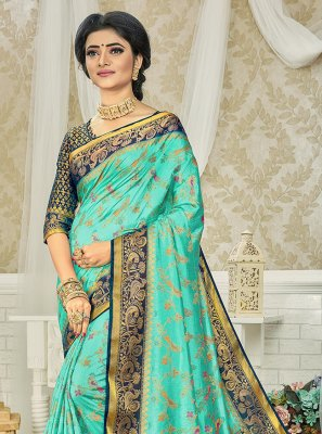 Weaving Turquoise Art Silk Silk Saree