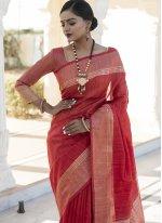 Weaving Tussar Silk Red Designer Traditional Saree