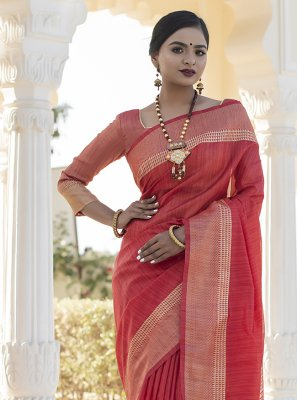 Weaving Tussar Silk Red Designer Traditional Saree