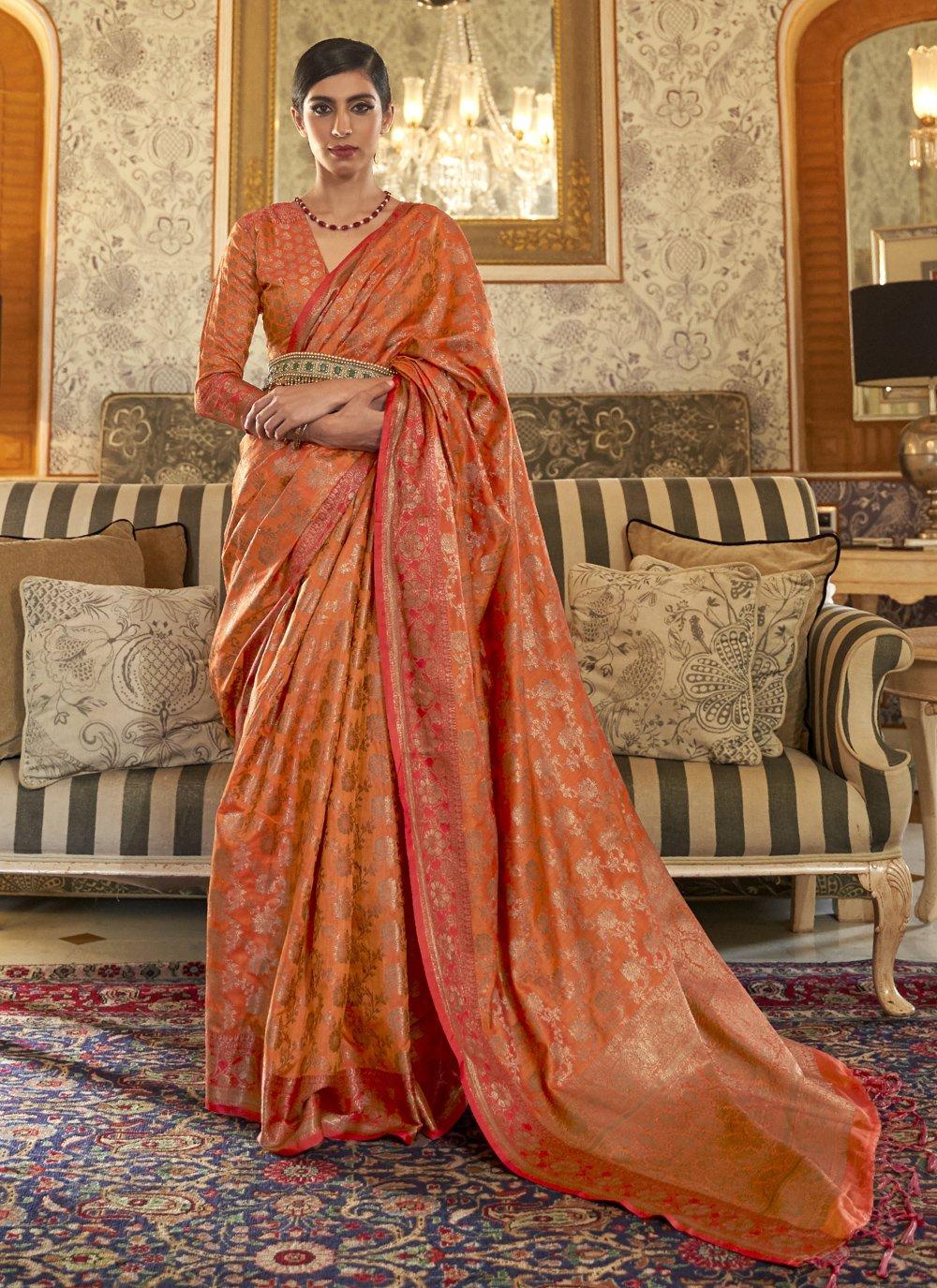 Weaving Tussar Silk Traditional Designer Saree in Orange