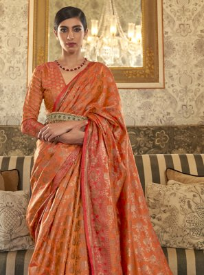 Weaving Tussar Silk Traditional Designer Saree in Orange
