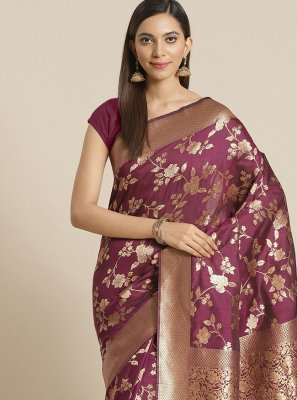 Weaving Wine Designer Saree