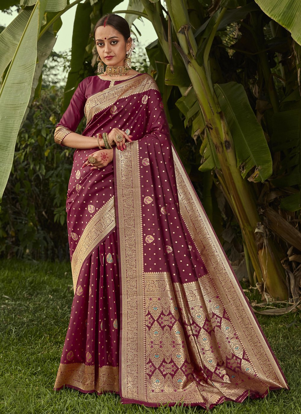Weaving Wine Silk Traditional Designer Saree