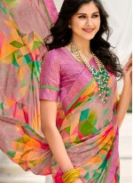 Weight Less Abstract Print Multi Colour Casual Saree