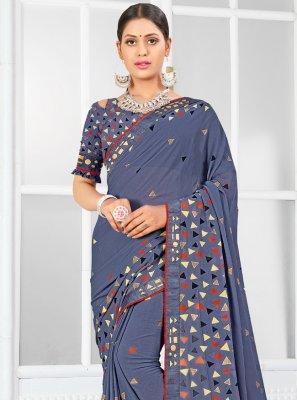 Weight Less Blue Classic Designer Saree