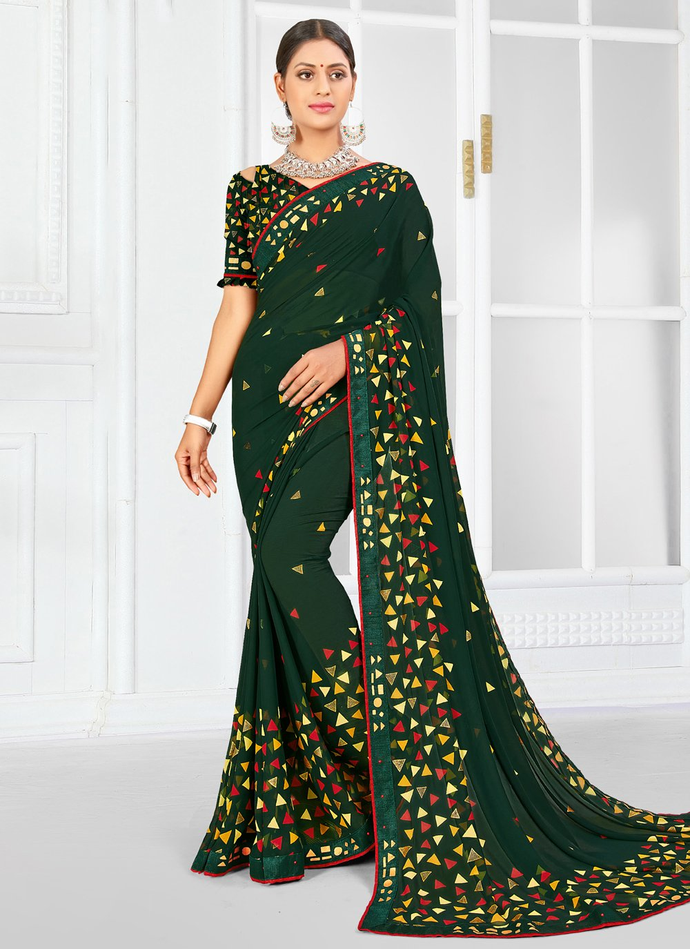 Weight Less Green Trendy Saree