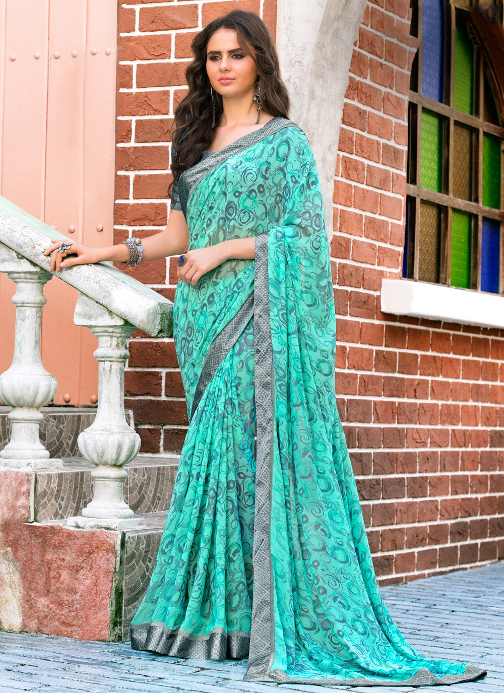 Weight Less Multi Colour Abstract Print Casual Saree