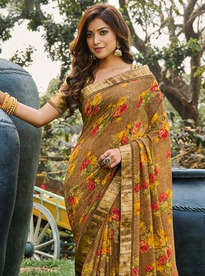 Weight Less Multi Colour Abstract Print Printed Saree