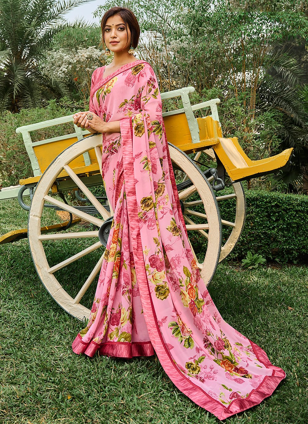 Weight Less Multi Colour Printed Saree