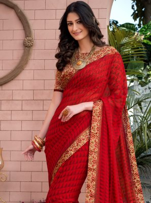 Weight Less Red Abstract Print Casual Saree