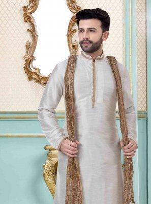 White Art Dupion Silk Mehndi Kurta Pyjama
