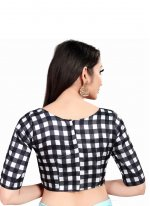 White Checks Art Silk Designer Blouse