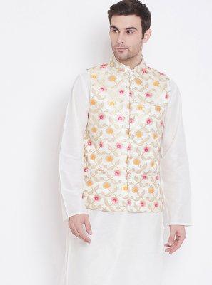 White Color Kurta Payjama With Jacket