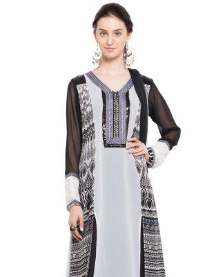 White Color Readymade Churidar Salwar Kameez