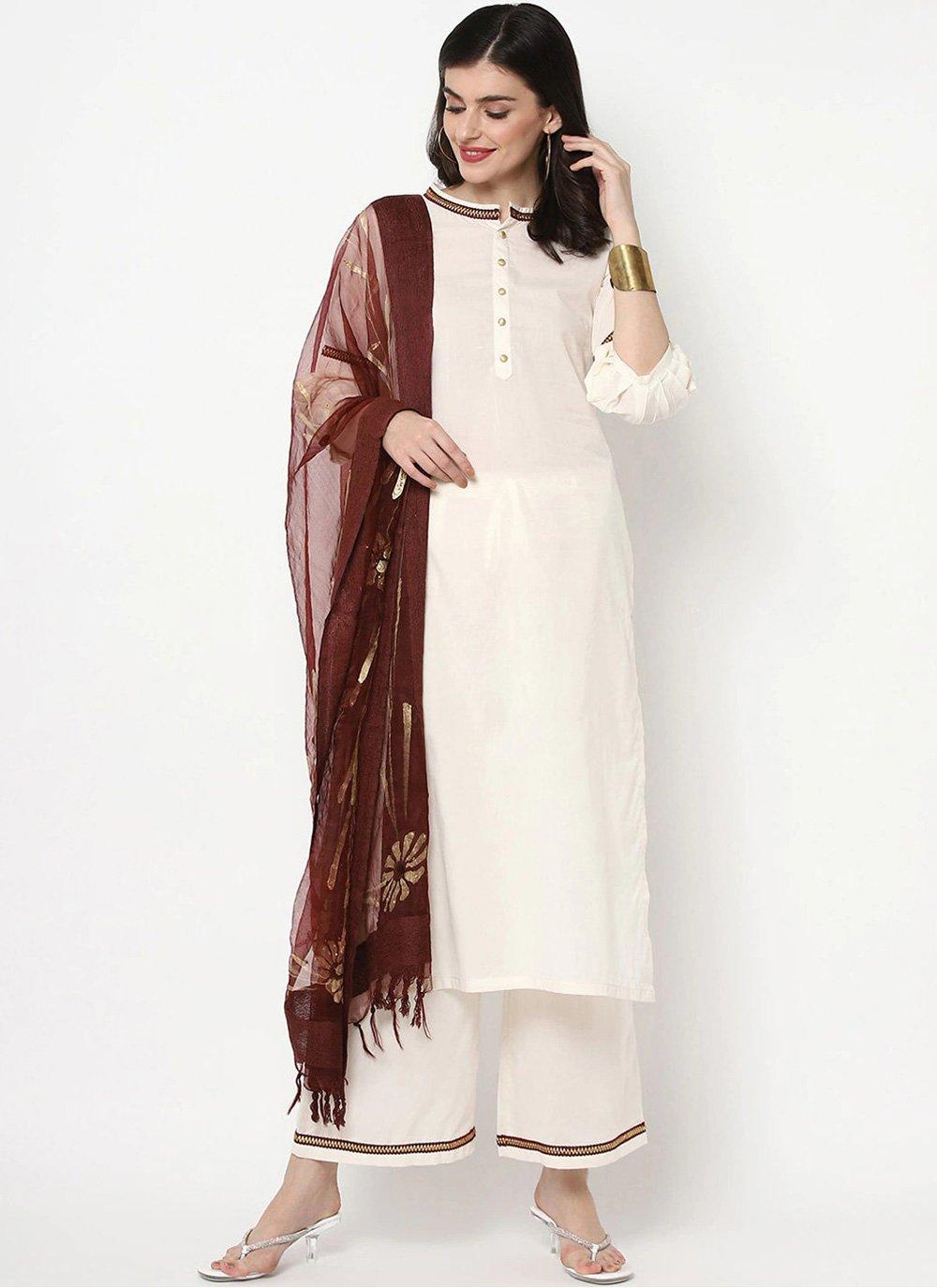 White Cotton Party Bollywood Salwar Kameez