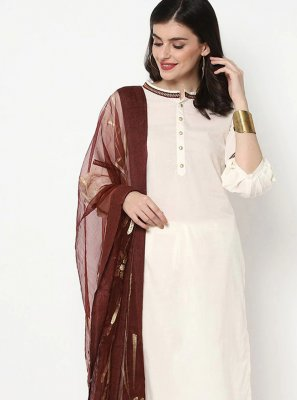 White Cotton Party Bollywood Salwar Kameez
