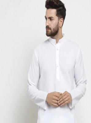 White Cotton Plain Kurta Pyjama
