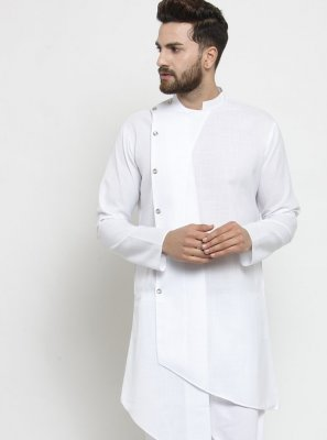 White Engagement Cotton Kurta Pyjama