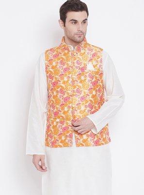 White Jacquard Work Reception Kurta Payjama With Jacket