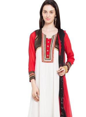 White Mehndi Readymade Anarkali Salwar Suit