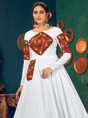 White Mirror Georgette Floor Length Gown