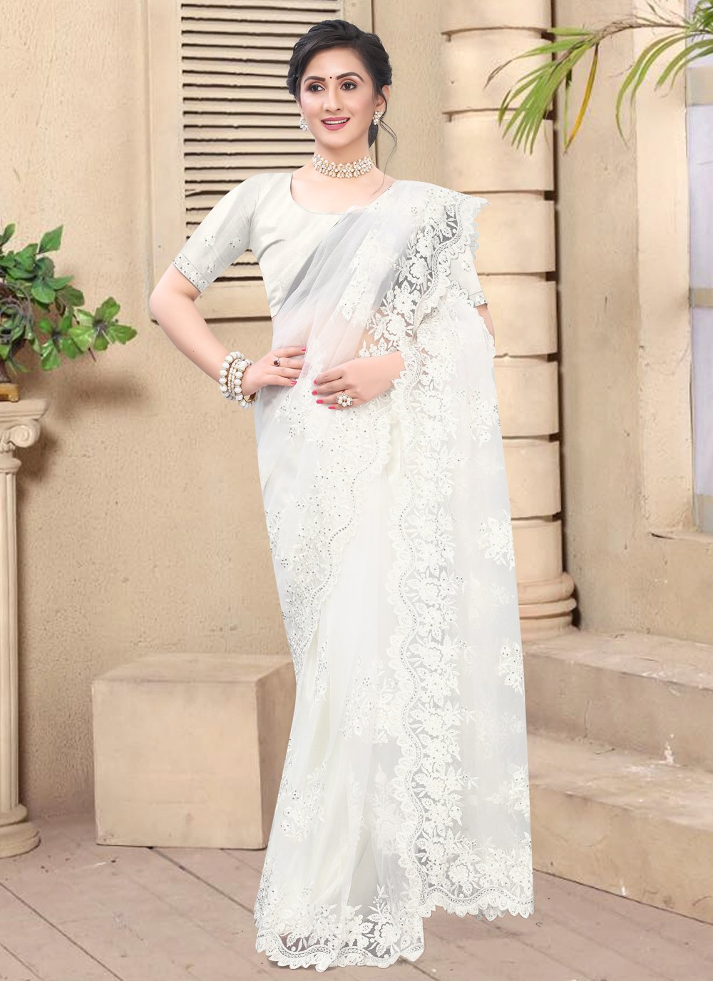 White Party Contemporary Saree