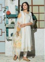 White Plain Anarkali Salwar Kameez