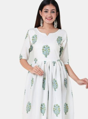 White Print Cotton Party Wear Kurti