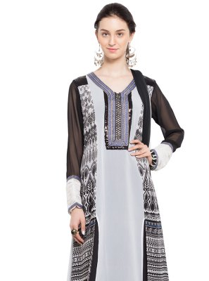 White Printed Indo Western