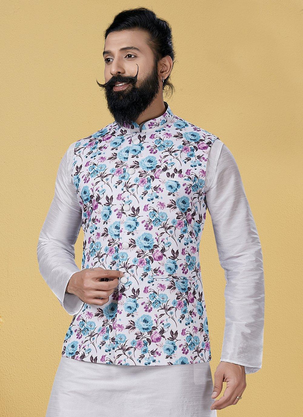 White Printed Nehru Jackets