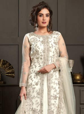White Resham Engagement Designer Floor Length Salwar Suit