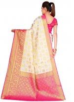 White Weaving Silk Traditional Saree