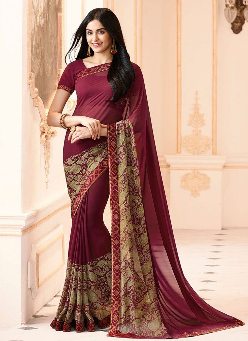 Wine Abstract Print Faux Georgette Printed Saree