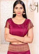 Wine Banarasi Silk Festival Traditional Designer Saree