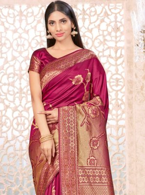 Wine Banarasi Silk Festival Traditional Designer Saree