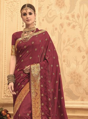 Wine Bridal Art Silk Traditional Saree